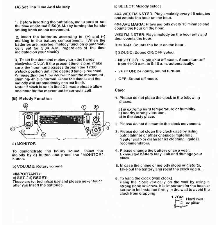 Quartz Clock Harmonic Movement Instructions The Clock Depot