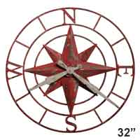 Compass Rose Rustic Wall Clock